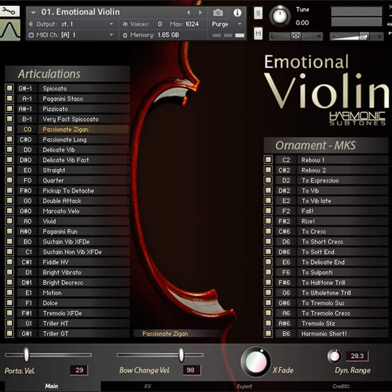 Best service Emotional Violin interface