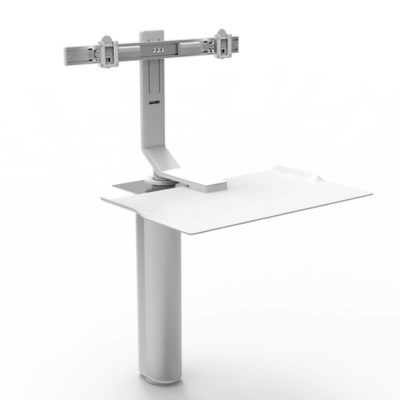 humanscale QUICKSTAND UNDER DESK blanc 2 écrans showroomaudio