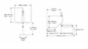 humanscale QuickStand Lite mesures showroomaudio