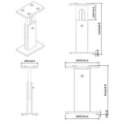 Pied d'enceinte Zaor ISO Stand MkII 600 dimensions showroomaudio